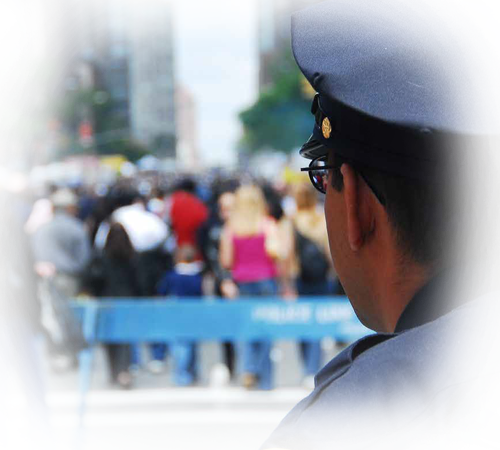Law Enforcement Officer And Crowd Background